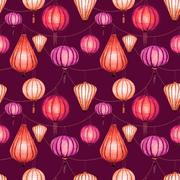 Watercolor vector seamless chinese pattern - stock illustration