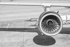 Engine of passenger airplane Stock Photos