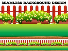 Garden background with flowers and lawn - stock illustration