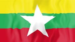 Animated flag of Myanmar Stock Footage