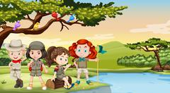 Children camping out by the river - stock illustration