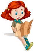 Little girl reading map Stock Illustration