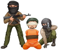Two terrorists with guns and a victim - stock illustration