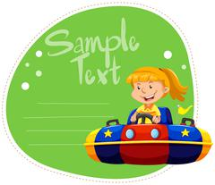Border design with girl in bumping car Stock Illustration