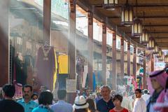 DUBAI - OCTOBER 10, 2015: Street Market in Dubai Deira. Biggest market in Dub Stock Photos