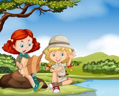 Girl camping out by the river - stock illustration