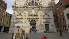 Tilt up view of Chiesa di San Moise in Venice Stock Footage