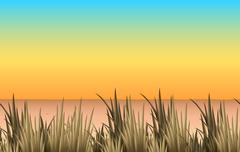 Nature scene with sand and grass - stock illustration
