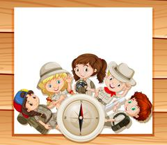Border design with children in camping outfit - stock illustration