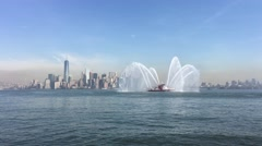 Stock Video Footage of Manhattan from Liberty Island