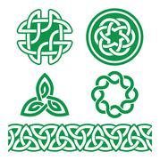 Celtic Irish green patterns and knots - vector, St Patrick's Day Stock Illustration