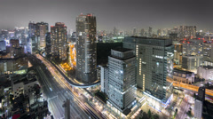 Night Time-Lapse of downtown in Tokyo Stock Footage