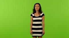 asian woman selfie greenscreen ms 4K - stock footage