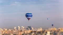 Minsk Balloons festival Balloon in the sky Balloons over the city Day timelapse - stock footage