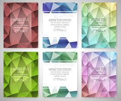 Stock Illustration of Set of abstract flyer triangular design, low poly brochure template in vintag