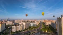 Minsk Balloons festival Balloons in the sky Clear sky  timelapse 4K - stock footage