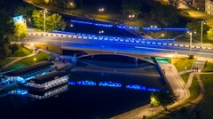Minsk night city Bridge Nemiga River Svisloch Timelapse 4K Stock Footage