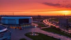 Minsk Arena Sport complex Sunset Timelapse 4K Belarus Stock Footage