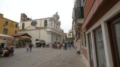 Santa Maria del Giglio Church and Hotel Ala in Venice Stock Footage