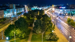 Minsk Kolasa street Night traffic Park Timelapse 4K Belarus Stock Footage