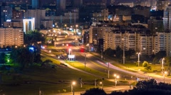 Minsk Night traffic Crossroad City lights Timelapse 4K Stock Footage