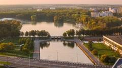 Minsk sunset sky Victory park Komsomolskae lake Timelapse 4K Stock Footage