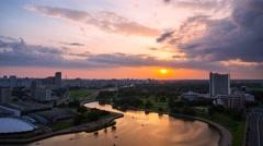 Minsk Sunset Nemiga City river Timelapse 4K Belarus Stock Footage