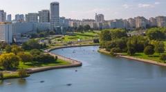 Minsk Nemiga River Svisloch Summer day Belarus Timelapse 4K Stock Footage