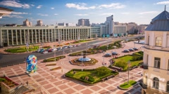 Minsk Independence square Summer day timelapse 4K Rooftop Stock Footage