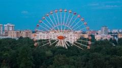 Minsk Pak Gorkogo Sunset Observation wheel Luna park Timelapse 4K Belarus Stock Footage