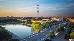 Minsk River Svisloch Victory Square City center  Main avenue Bridge Timelapse 4K Stock Footage