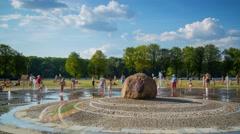 Minsk Victory Park Fountain People Sunny day Timelapse 4K Belarus Stock Footage