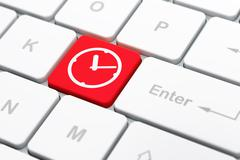 Stock Illustration of Time concept: Clock on computer keyboard background
