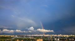 Minsk Rainbow Sky Summer Clouds Rooftop Timelapse 4K Belarus - stock footage