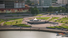Minsk Nemiga River Svisloch Fountain Sunny day Timelapse 4K Belarus Stock Footage