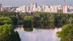 Minsk River Svisloch Victory Park Sunny day Timelapse 4K Belarus Stock Footage