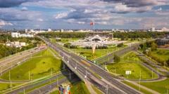 Minsk rooftop Highway Junction Sunny day Timelapse 4K Belarus Stock Footage