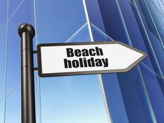 Stock Illustration of Vacation concept: sign Beach Holiday on Building background