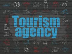 Stock Illustration of Vacation concept: Tourism Agency on wall background
