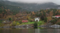 Bergen fjords Norwegian island Green nature Fjords house  Full hd - stock footage