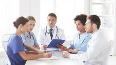 Group of doctors meeting at hospital office Stock Footage