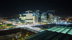Oslo city center Downtown Night traffic Timelapse 4K Stock Footage