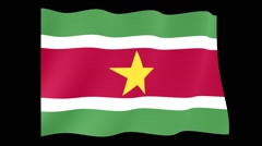 Flag of Suriname.    Waving flag (PNG) computer animatie. Stock Footage
