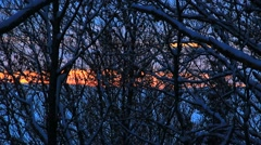 Sunset in the mountains in winter Stock Footage