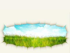Grass background with ripped paper Stock Illustration