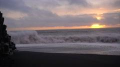 Highspeed black beach in vik town(Vík í Mýrdal),sunset,southern Iceland Stock Footage