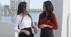Two women chatting on a waterfront promenade Stock Footage