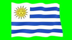 Flag of Uruguay.  Waving flag (PNG) computer animatie. Stock Footage