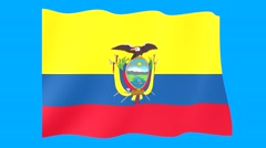 Flag of Ecuador.   Waving flag (PNG) computer animatie. Stock Footage