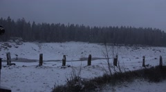 4k Sluice gate panning winter Harz mountains Oderteich lake Stock Footage